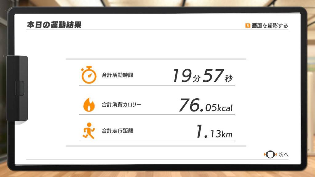 リングフィット総合結果画面